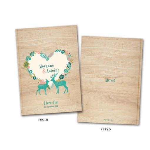 Livre e'or mariage montagne. Fond bois