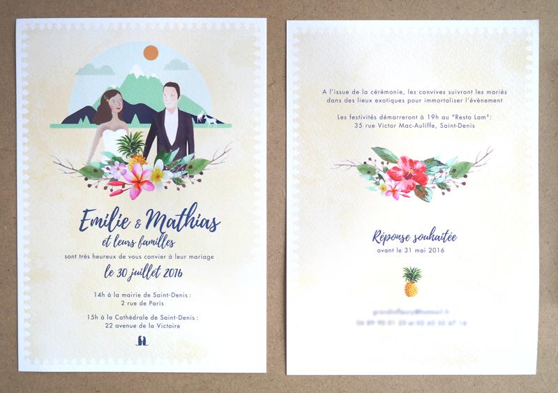 Faire-part de mariage en guadeloupe exotique, ananas guadeloupe et fleurs des îles