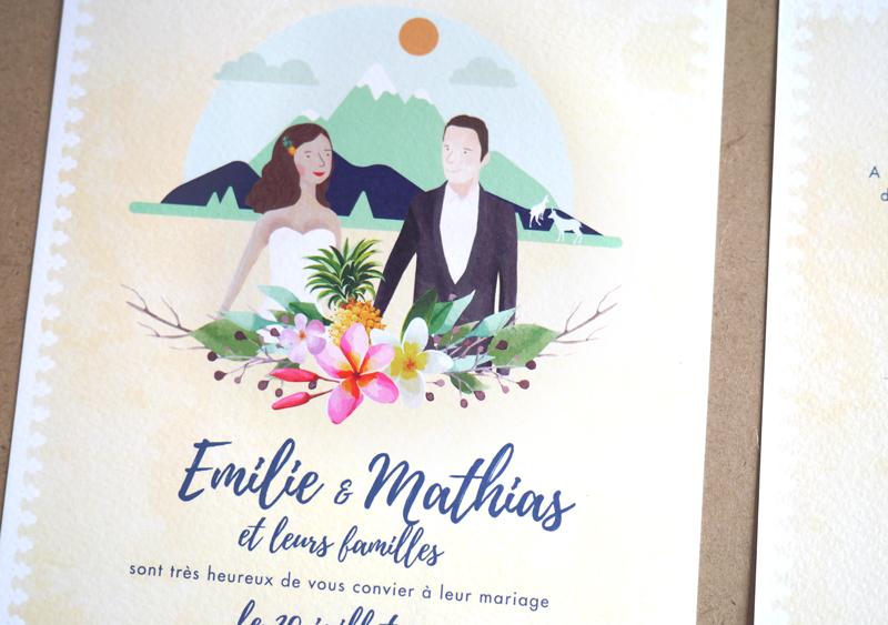 Faire-part de mariage en guadeloupe couple de mariés illustrés