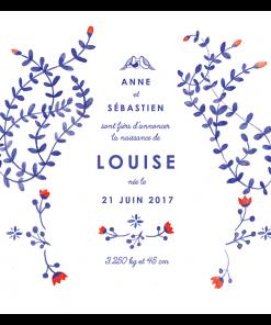 Faire-part de naissance Louise. Bébé fille. Illustration branches bleues et fleurs rouges. Oiseau et oisillon
