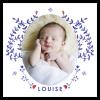 Faire-part de naissance photo fille. Modèle Louise avec branchages, fleurs et oiseaux à l'aquarelle.