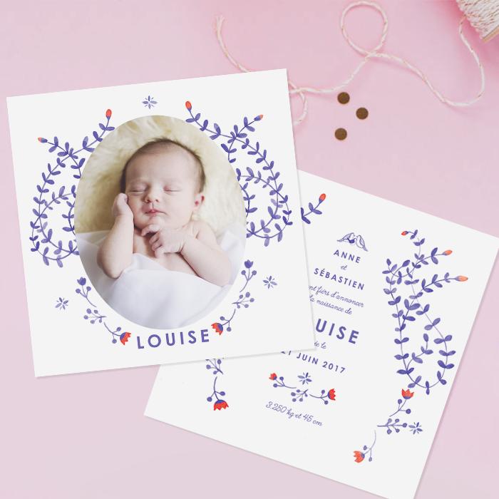 Faire-part naissance fille Louise branches fleurs et fleurs à l'aquarelle avec photo de bébé.