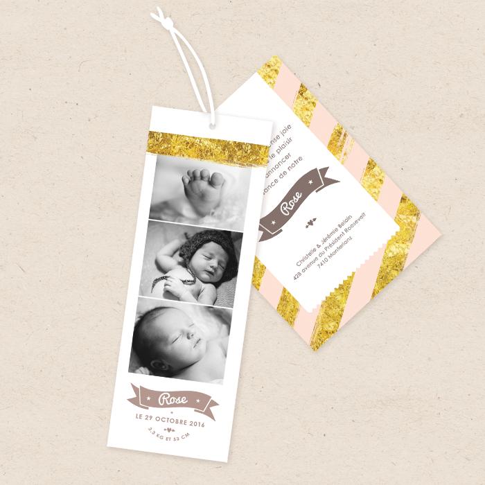 Faire-part de naissance créatif Photomaton fille rose et or