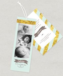 Faire-part de naissance créatif Photomaton; bande photo garcon vert pastel et or