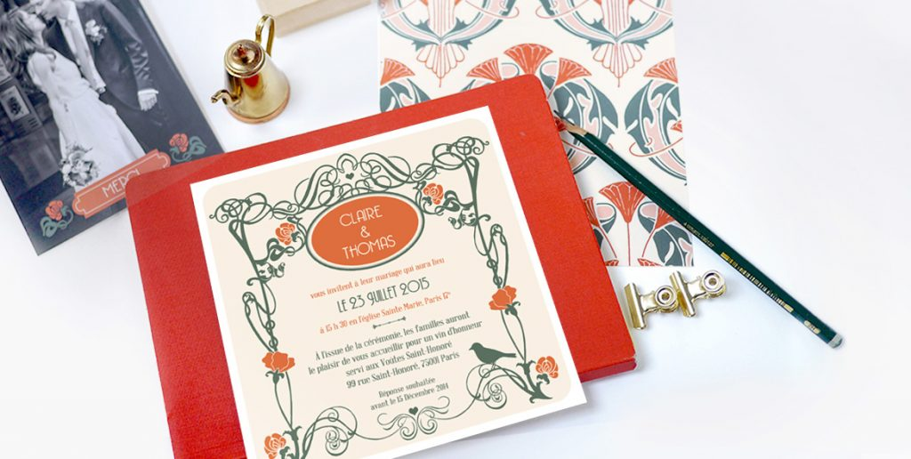 Texte faire part de mariage traditionnel style art deco