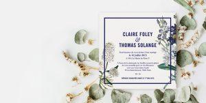 Faire-part mariage floral, jardin botanique. Invitation mariage fleurs bleues au style épuré et tout simplement élégant. Couleurs à personnaliser.