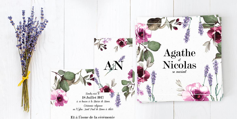 Faire-part mariage Provencal, thème Provence. Invitation mariage florale, rose, lavande.