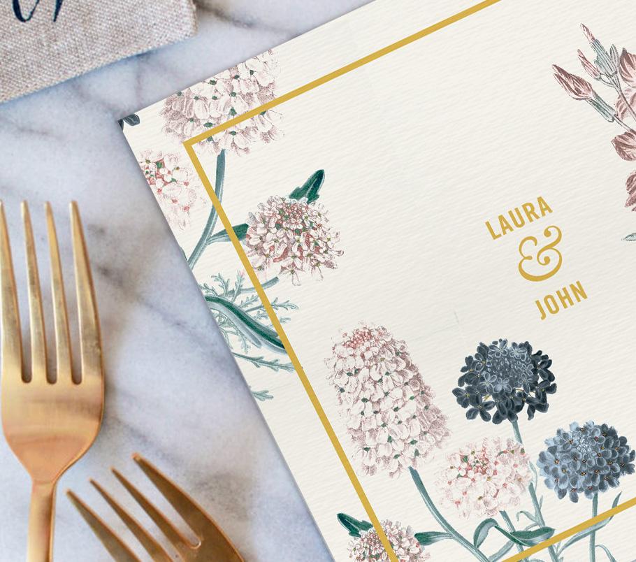 Faire-part mariage Jaune moutarde et fleurs champêtres