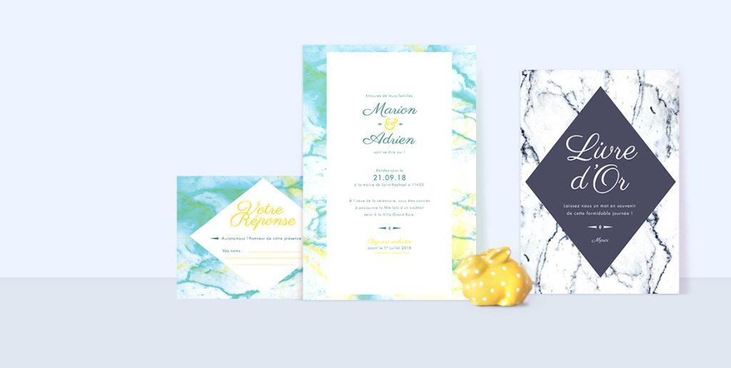 Faire-part mariage Marbre. Invitation marbre, save the date, menus avec couleurs personnalisées.