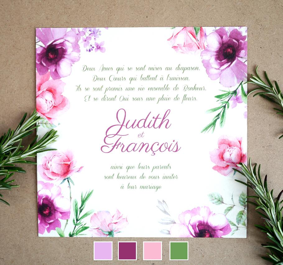Invitation de mariage créative et sur mesure. Décor de fleurs. Rose et violet.