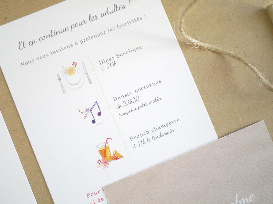 texte faire-part mariage, carton supplémentaire et programme de la journée sur petit carton assorti au faire-part de mariage