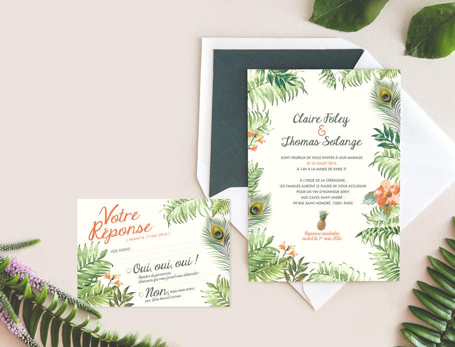 texte faire-part mariage exotique, mariage tropicale avec carton réponse
