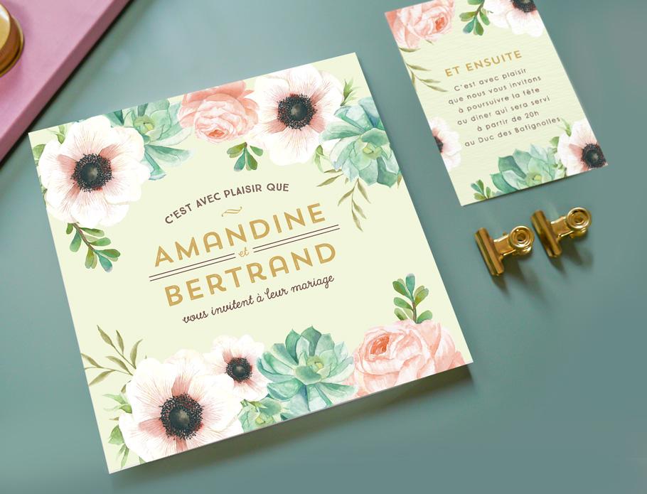 texte faire-part mariage floral et carton supplémentaire pour le brunch du lendemain