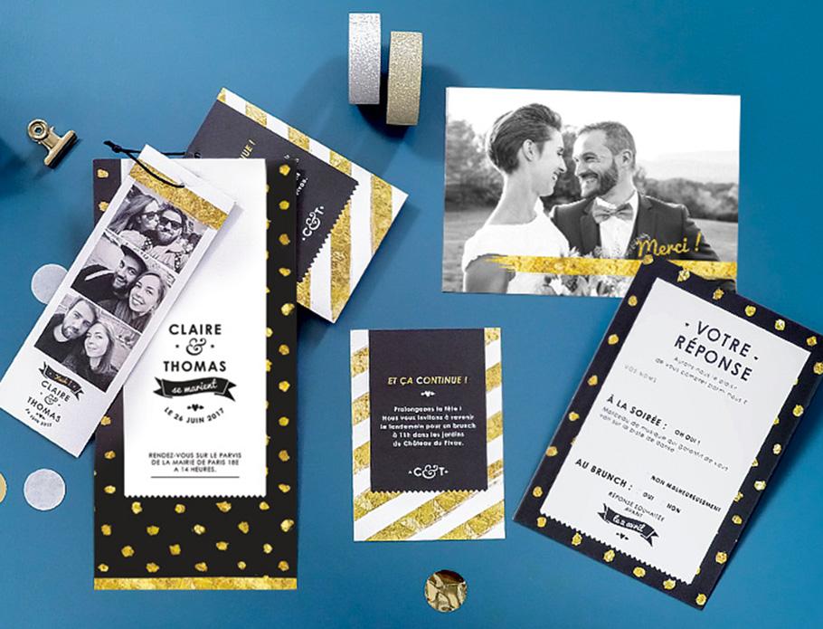 texte faire-part mariage, invitation mariage photomaton avec carton supplémentaire pour le brunch et coupon réponse.