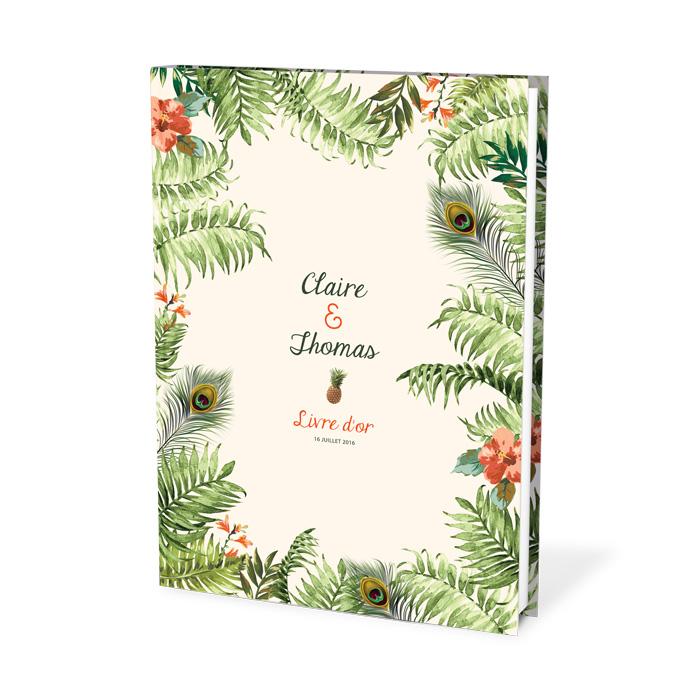 livre do'r mariage exotique et tropicale. Fleurs et ananas