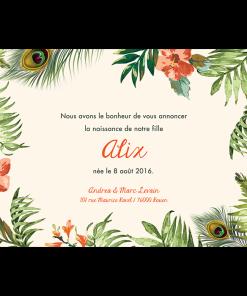 Fairepart naissance jungle tropicale - Alix. Fleurs exotiques et photo de bébé