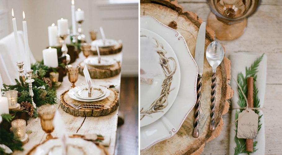 mariage à la montagne, imaginez votre décoration de table avec des rondins de bois