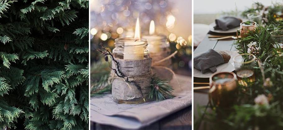 mariage à la montagne, décoration de table avec des branches de sapin