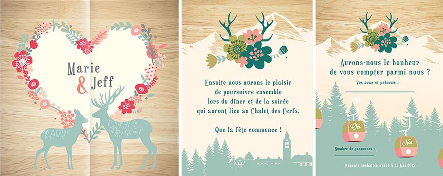 mariage à la montagne, votre faire-part avec cerfs et biches, cimes enneigées. Pepper & Joy