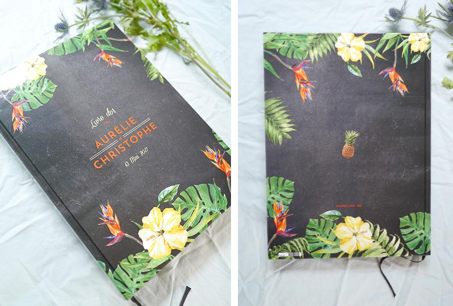 livre d'or mariage exotique avec ananas, feuilles de palmier, fleurs d'oiseau du paradis