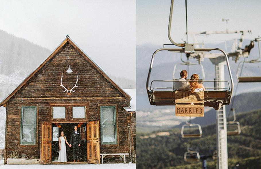 Mariage à la montagne, neige et télésiege