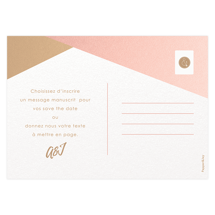 Save the date mariage, carte postale personnalisée or et rose
