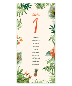 plan table mariage exotique, jungle tropicale
