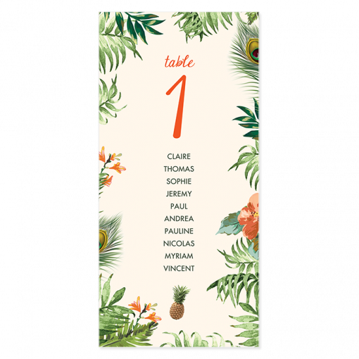 plan table mariage exotique, jungle tropicale