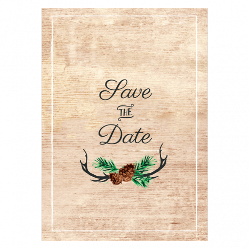 save the date mariage Bois, pigne de pin. mariage nature dans la forêt.
