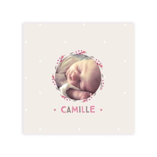faire part naissance fille camille, photo et fleurs a l'aquarelle sur fond beige et rose