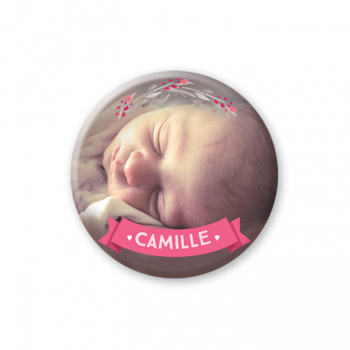 Faire part naissance magnet fille photo de bébé et motif rose et gris