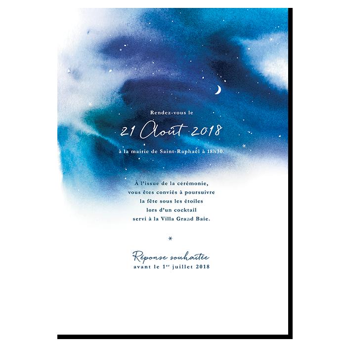 Faire part mariage nuit étoilée, fond aquarelle bleu avec des nuances de textures. Motif étoiles et Lune