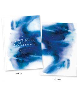 livre d'or mariage nuit étoilée, ciel avec étoile réalisé à l'aquarelle bleue