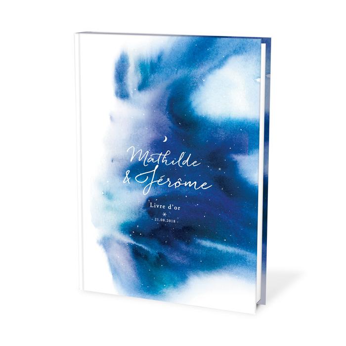 Livre d'or mariage thème nuit étoilée, fond aquarelle bleue