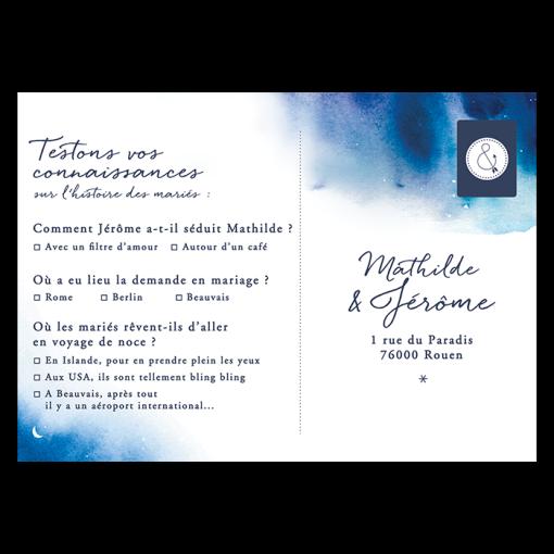 Faire-part mariage Nuit étoilée, carton réponse avec questionnaire original.