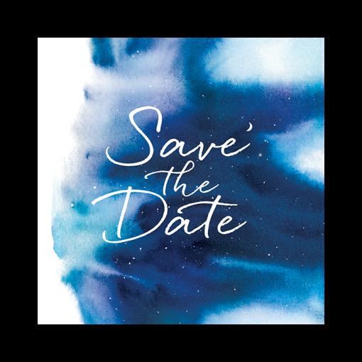 faire part mariage nuit étoilée save the date à l'aquarelle. Motifs d'étoiles et lune.