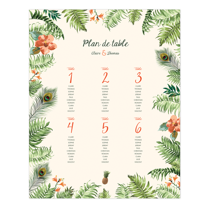 Plan de table mariage exotique jungle tropicale poster - Comment faire un plan de table mariage ...