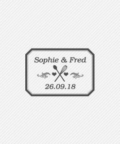 Tampon mariage personnalisé - logo des mariés coeurs, cuisine et patisserie.