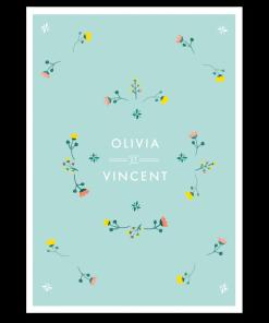 aire part mariage printemps boutons de fleurs des champs, mint, jaune et corail