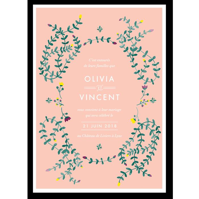 faire part mariage printemps bouton de fleurs bourgeons rose poudré vert emeraude et prune.
