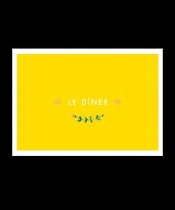 invitation dîner brunch mariage. Fond jaune et fleurs des champs