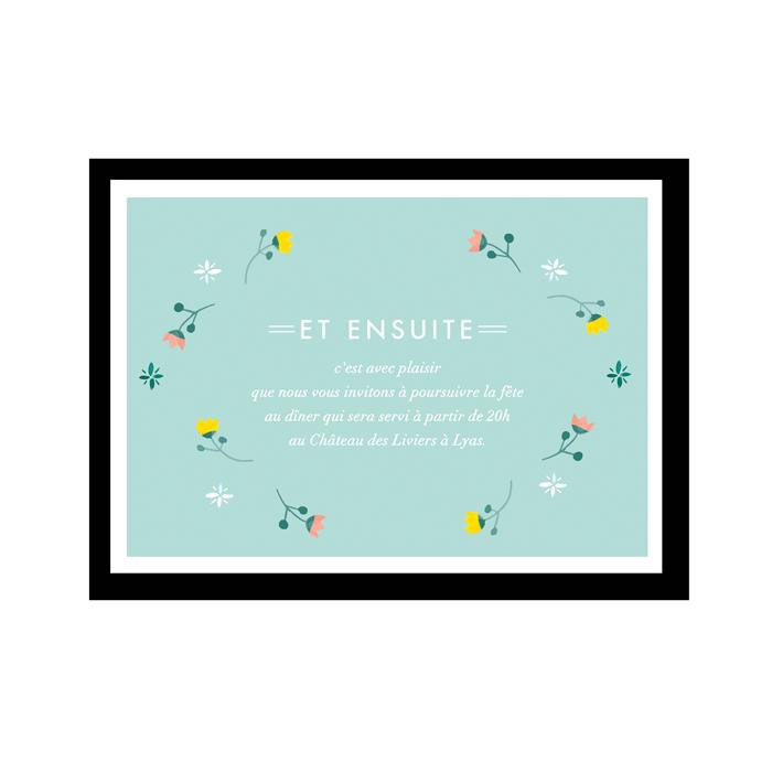 invitation dîner mariage , carton supplémentaire motifs fleurs et mariage printemps