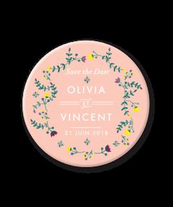 Magnet save the date mariage rose fleurs couronne aquarelle