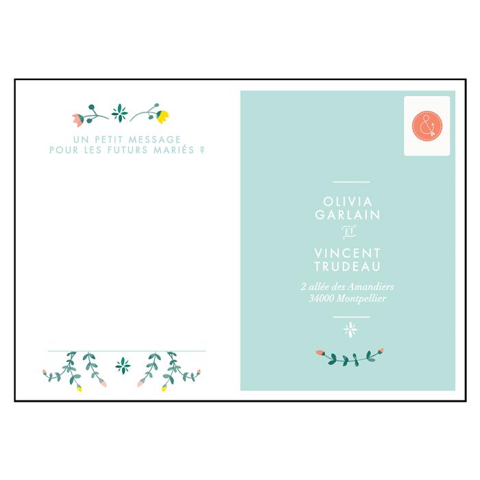 Carton réponse mariage printemps fleurs fond mint, carte postale