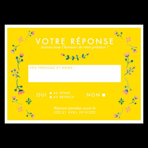 Carton réponse mariage, carte postale fond jaune fleurs aquarelle
