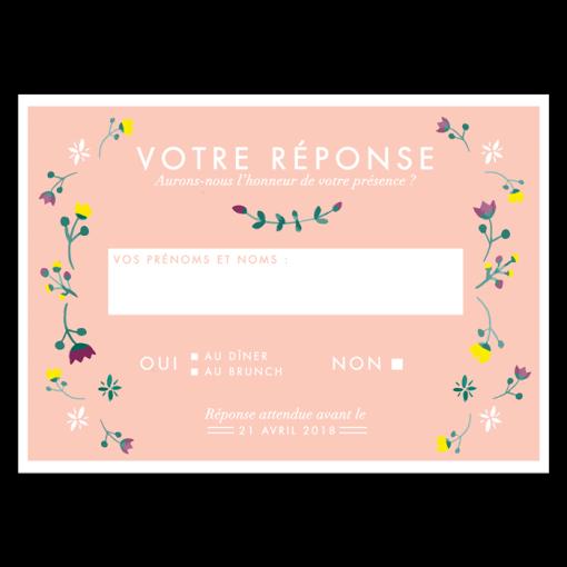Coupon réponse, carte postale fond rose poudré, couronne de fleurs