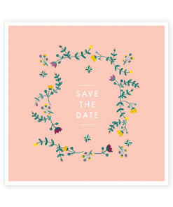 Save the date mariage couronne de fleurs aquarelle sur fond rose poudré