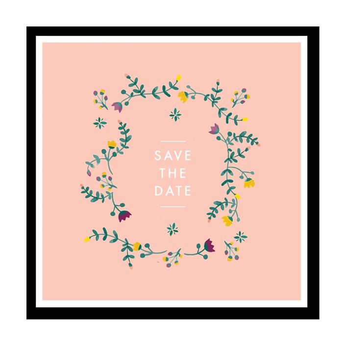 save the date mariage printemps couronne de fleurs l 39 aquarelle. Black Bedroom Furniture Sets. Home Design Ideas