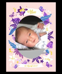 Faire part de naissance fille fée et papillons violet et rose avec une touche de jaune. photo de bébé Alice