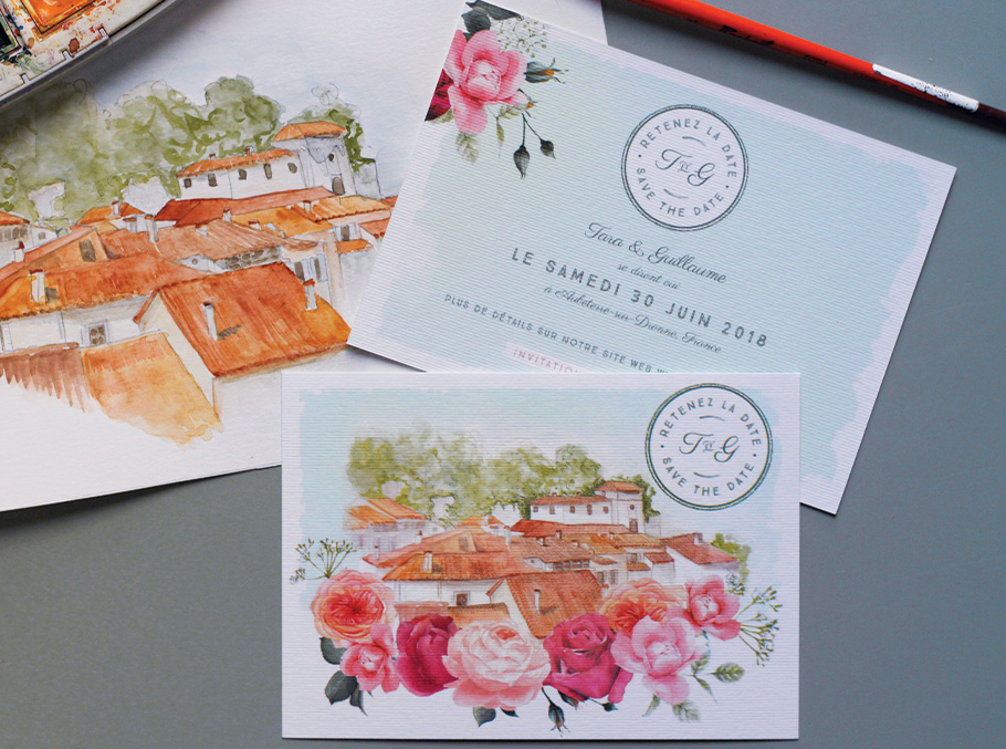 Save the date de mariage avec illustration sur mesure à l'aquarelle de l'eglise, mairie ou village